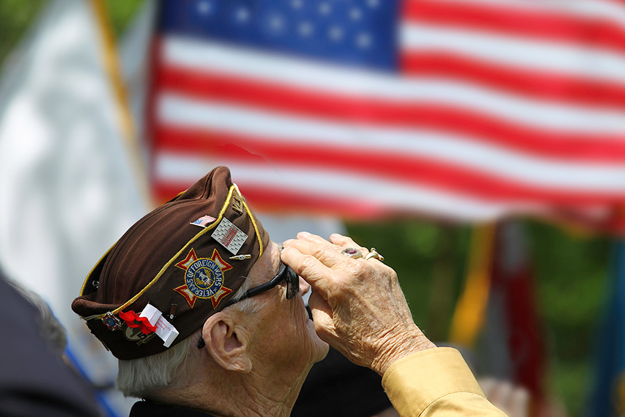 United States veteran saluting the flag